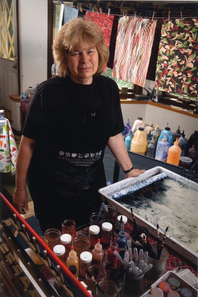 Regina in her marbling studio