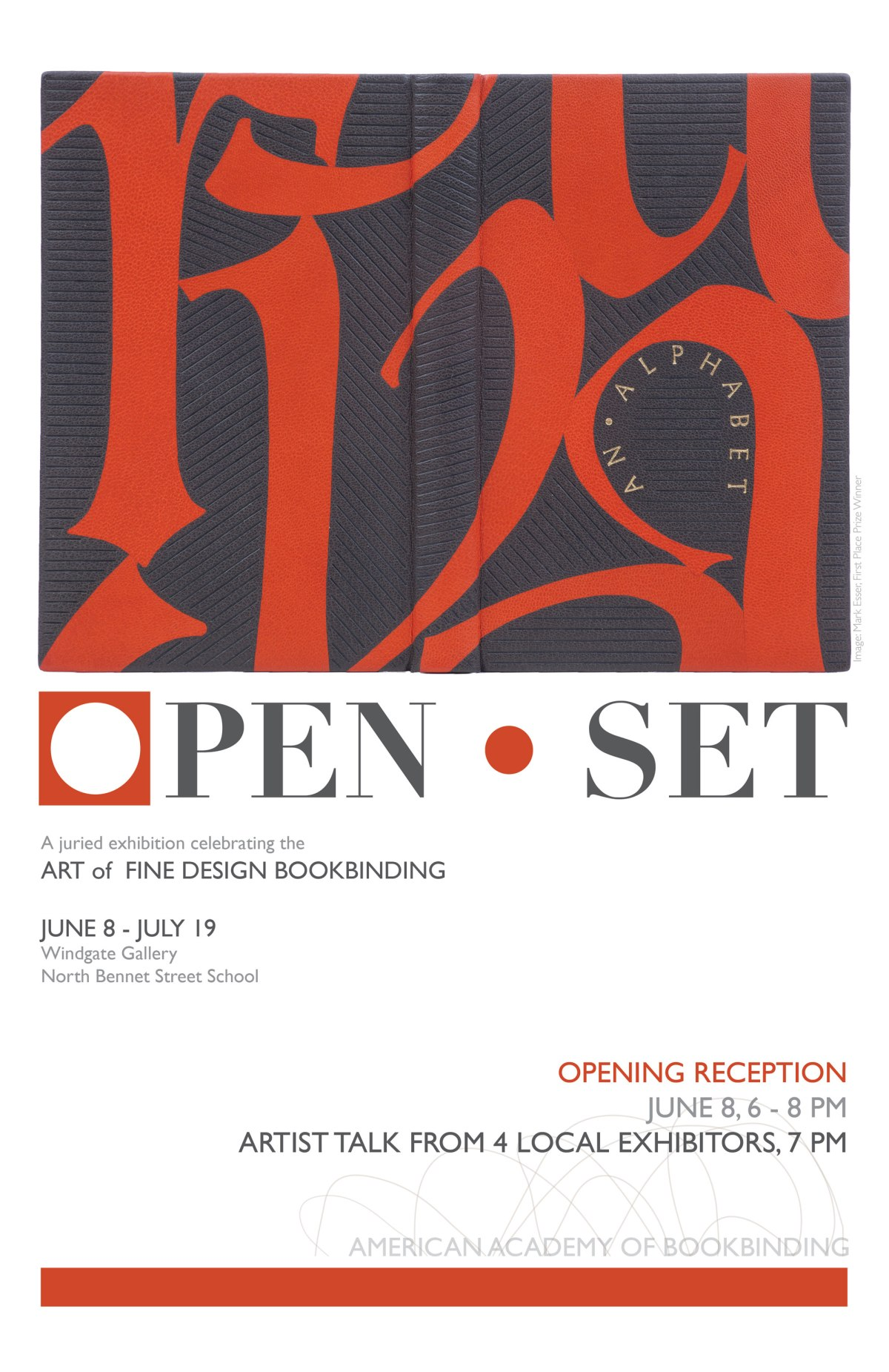 Opening Reception for the American Academy of Bookbinding Open/Set Exhibit – June 8th in Boston,MA